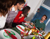 People gather together for Christmas dinner — Foto Stock