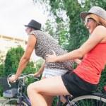 Two Young Girls Having On Bike — Stock Photo #51584547