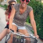 Two Young Girls Having On Bike — Stock Photo #51584707
