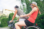 Two Young Girls Having On Bike — Stock Photo