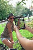 Two Young Girls Having Fun Outdoors — Stock Photo