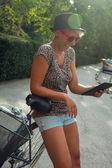 Hipster Girl Using Digital Tablet — Stock Photo