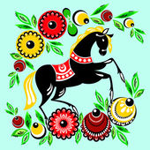 Horse and flowers — Stock Vector