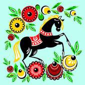 Häst och blommor — Stockvektor