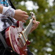 Detail of guitar playing — Stock Photo