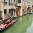 Stock fotografie: Canal and gondolas in Venice, Italy