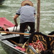Gondolier in gondola, Venice, Italy — Stock Photo #27355199