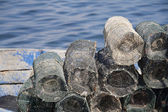 Background of fishing nets in a harbour — Foto Stock