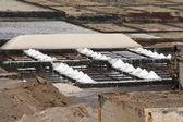 Koksaltlösning i janubio, salt raffinaderi i lanzarote — Stockfoto