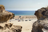 Beach in geologic area in Mazarron — Stock Photo