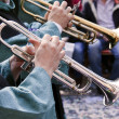 Trumpet of a musical band on the street in Moors and Christians — Stock Photo