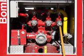 Firemen equipment in a fire truck — Stock Photo