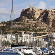 Panoramic of port in Alicante with Santa Barbara Castle, Spain — Stock Photo