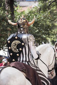 A fighter on horseback in the festival of Moors and Christians, — Stock Photo