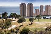 Golf place with nice green at sunrise in Benidorm, Spain — Stock Photo