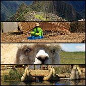Collage of Peru with Machu Pichu and Titicaca lake landscapes — Stock Photo