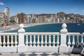 Balcony with view of Benidorm Levante Beach from Mediterranean C — Stock fotografie