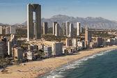 Skyscrapers near the beach in Benidorm, Spain — Stock Photo