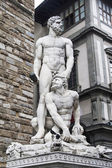 Italy, statue of Hercules and Cacus in Florencia — Stockfoto