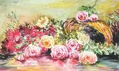 Aquarela de rosas — Foto Stock