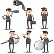 Cartoon businessman with searching gesture — Stock Vector #45499529