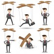 Cartoon businessman set in marionette style — Stock Vector #45500357