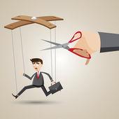 Cartoon businessman in puppet style — Stock Vector