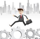 Cartoon businessman walking on gear way — Stock Vector