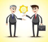 Cartoon businessman holding idea — Stock Vector