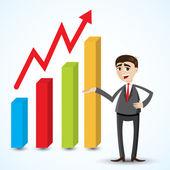 Cartoon businessman with growing chart — Stock Vector