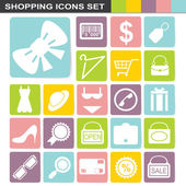 Flatten design shopping icons set — Stock Vector