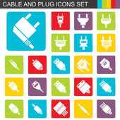 Falt design cable and plug icons set — Vecteur
