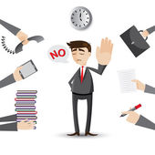 Cartoon businessman reject his work — Stock Vector