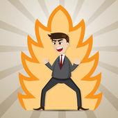Cartoon businessman with power strength — Stock Vector