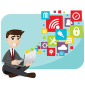 Cartoon businessman with laptop and icon — Vecteur