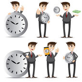 Cartoon businessman with clock set — Stock Vector