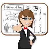 Cartoon businesswoman with business plan — Stock Vector