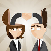 Cartoon businessman and businesswoman check hand in they head — Stockvektor