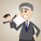 Cartoon puppet businessman manipulated by older boss — Stockvektor