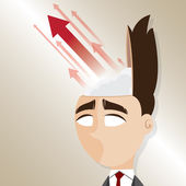 Cartoon businessman with up arrow from his head — Wektor stockowy