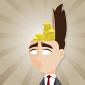 Cartoon businessman with gold coin in his head — Stock Vector
