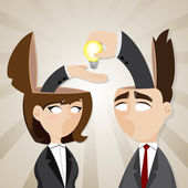 Cartoon businessman and businesswoman with idea bulb — Stock Vector