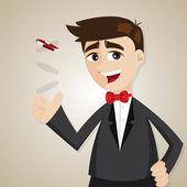 Cartoon businessman with casino chip — Stock vektor