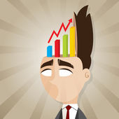 Cartoon businessman with rising chart from his head — Stock vektor