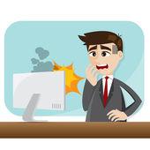 Cartoon businessman with error computer — Stock vektor