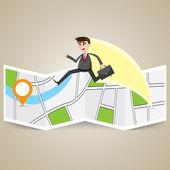 Cartoon businessman travel over map to destination — ストックベクタ