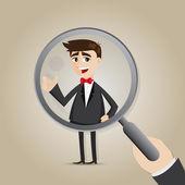 Cartoon businessman with magnifier — Stock Vector