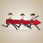 Cartoon businessmen carry red arrow — Vettoriale Stock