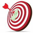 Red dart hitting money on target — Stock Vector