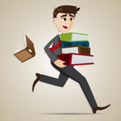 Cartoon businessman carry stack of folder and dropped book — Stock Vector